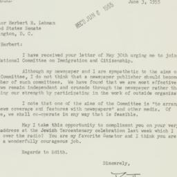 Letter : 1955 June 3