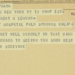 Telegram : 1963 February 13