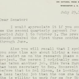 Letter : 1953 July 29