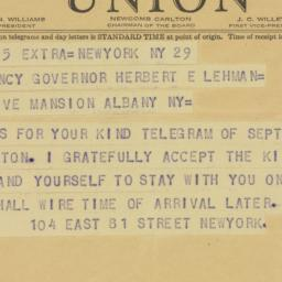 Telegram : 1942 September 30