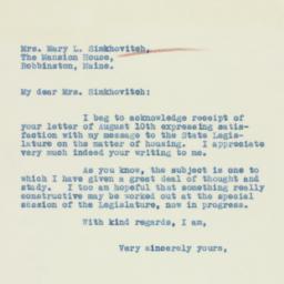 Letter: 1933 August 14