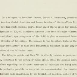Press release : 1946 August 2
