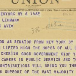 Telegram : 1946 September 6