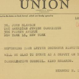 Telegram : 1946 December 23