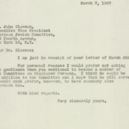 Letter : 1947 March 7