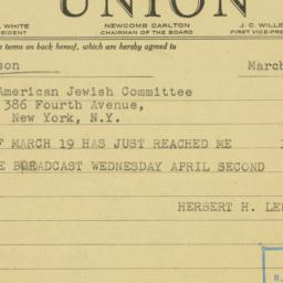 Telegram : 1947 March 21