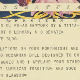 Telegram : 1950 September 6