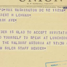 Telegram : 1950 October 12