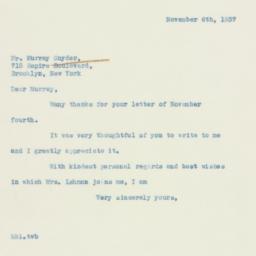 Letter: 1937 November 6