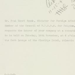 Invitation: 1943 November 15