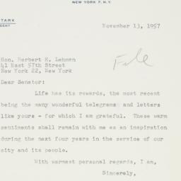 Letter : 1957 November 13