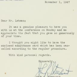 Letter : 1947 November 1