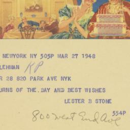 Telegram : 1948 March 27