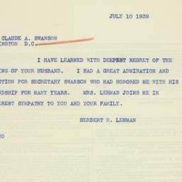 Telegram : 1939 July 10