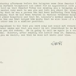 Memorandum : 1951 November 29