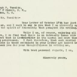 Letter : 1929 October 18