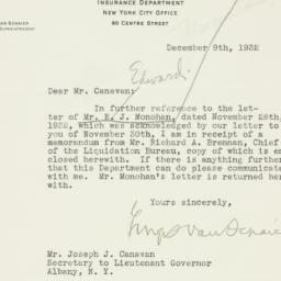 Letter : 1932 December 9