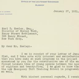 Letter : 1931 January 27