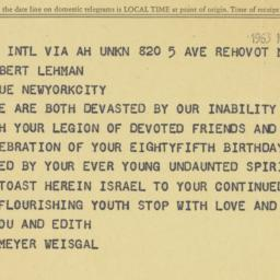 Telegram : 1963 March 25