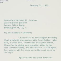 Letter : 1955 January 31