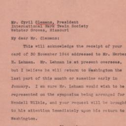 Letter : 1944 December 7
