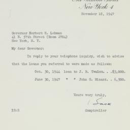 Letter : 1947 November 18