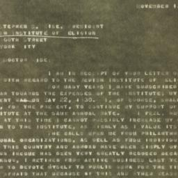 Letter : 1930 November 13