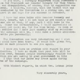 Letter : 1960 July 28