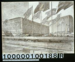 U.N. Headquarters seen from the East River : perspectiveblown up : [Drwg. no.] 148,