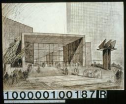 View from First Ave., delegate entrance in center : close-up view :Drwg. no. 146,