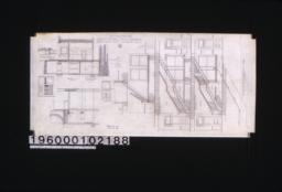 """Section showing new arrangement of stairs; detail drawing of sidewalk construction; section """"C-C"""" through sidewalk and front of basement and first story; elevation of west end of elevator entrance; section """"B-B' through basement and first story; elevation of vestibule doors :No. 9."""