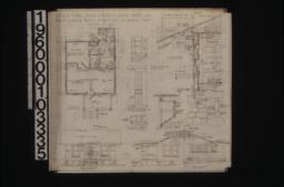 Plan; east elevation; north elevation; front and side details of medicine case in bathroom; detail of batten door (battens on both sides); detail of shingled ridge; section through wall with exterior and interior elevations of window; detail of lattice in gable ends :Sheet no. 1.