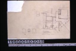 Sketch of plan of 2nd floor dining room wing\, detail sketches of windows