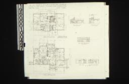Second floor plan\, first floor plan; interior elevations -- hall-south end and west side\, living room-west side\, dining room-east side and west side :Sheet no.2\,