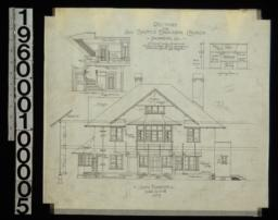 South elevation with section through wall ; section through main hall ; front and side elevations of fireplace in dining room :No. 5.