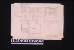 Bathroom addition to Alice's bedroom -- plan\, east elevation and south elevation of exterior scheme 5.