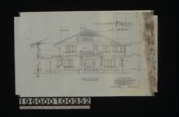 East elevation with section through wall, section thru pergola showing wall beam :Sheet no. 5.