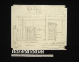 Detail of bookcase doors\, etc\, in den -- south elevation\, part east elevation\, sections :Sheet no. 4.