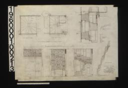Stairway details -- plan at second floor, plan at first floor, section on line A-A, section thro' landing, inside elevation of string, plan of backs of risers, north elevation, west elevation, south elevation, elev. of inside string as it would appear if straightened out in plan :Sheet no. 14.