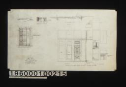 Plan and front elevation of elevator doors for 1st & 2nd floors\, Full scale plan of edge of doors; details of sliding doors between showroom & rear -- plan\, elevation\, section\, typical F.S. sections :nSheet no. 20.