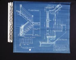 Main staircase -- elevation & section\, part plan\, details of newel\, balusters and handrail