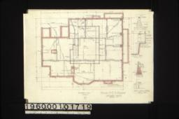 """Foundation plan\, 1/2 in. scale detail of footings for 8"""" and 12"""" brick piers\, section B-C\, section A-B\, detail of chimney footings :No. 1."""