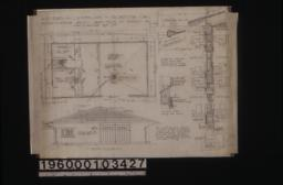 Plan\, south elevation\, typical section through wall with exterior and interior elevations of window frames\, section thro' sliding door head.