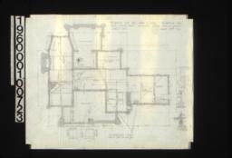 """Foundation plan with detail drawings of section A-A\, chimney footing\, girder post footings\, 1/2"""" scale sectionthro' wall footings :Sheet No. 1\,"""