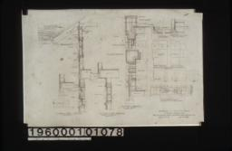 Typical wall section\, section thro' overhang (front elevation)\, section thro' wall of sun room with plan of corner\, plan X-Y (west elevation)\, plan A-B (corner of sleeping porch\, west elevation)\, details of corner over entrance\, 3 inch scale detail of splices in timber work : Sheet no. 9.