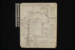 """1/2 inch scale details of living room -- sections through walls\, floor and roof; outside and inside elevations of window; shingled ridge roll; gable ends; end of ridge pole; china cabinet; F.S.D. of doors """"A"""" :No. 7."""
