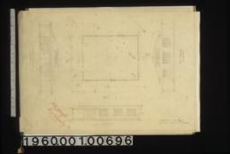 Front i.e. south elevation\, plan\, side i.e. east elevation\, end i.e. north elevation.