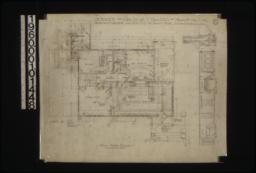First floor plan; details in elevations and section of bedrm. #1mantel and living rm. mantel :2.