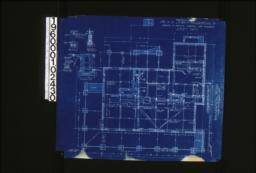 """Foundation plan ; foundation details -- post footing, wall section (see elevations for height of walls), porch piers, section """"C-C"""" :Sheet no. 1."""
