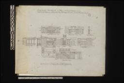 1/4 inch scale details -- plan of living rm. ceiling; elevations of dining room south side\, dining room north side\, side of D.R. mantel\, bay\, living room\, hall\, stairs\, den\, living room west side\, and first floor hall :7.